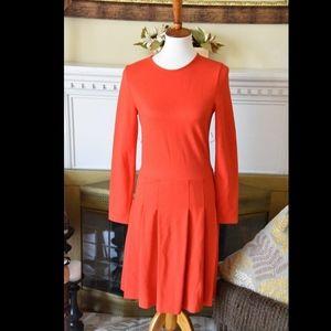 J Crew Red Pleated Ponte Dress Size 4